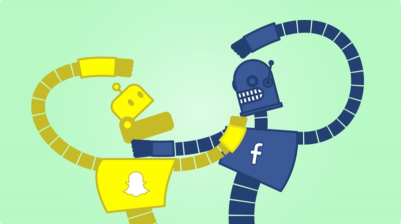 Snapchat and Facebook bots battle