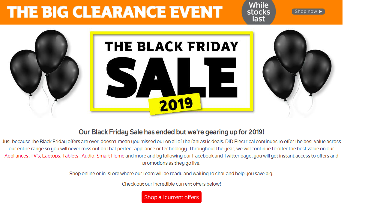 Black Friday Landing Page DID Electrical