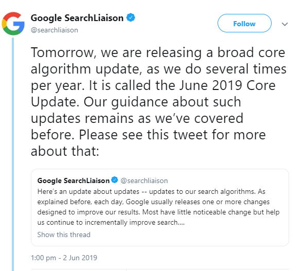 Google Algo Tweet