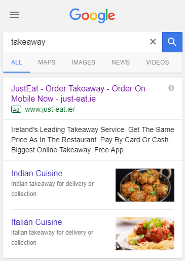 just eat's visual site links