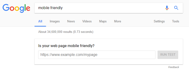 Mobile Friendly Test in the SERPS