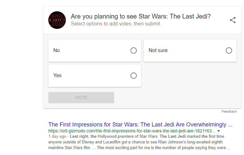 Polls in the SERPS