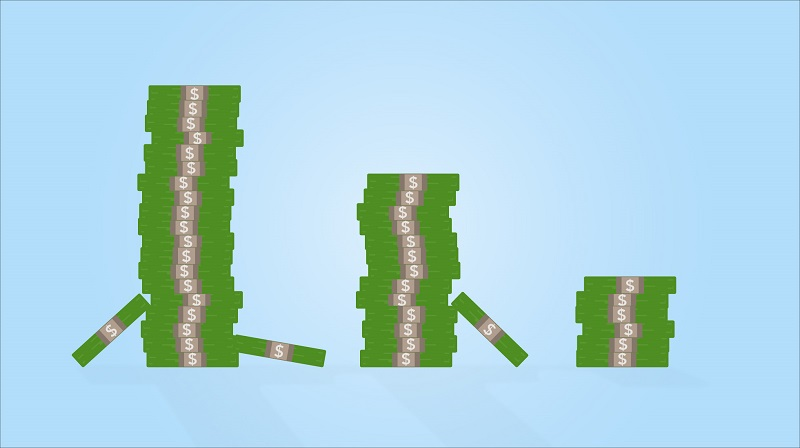 Illustrated image of stacks of dollars