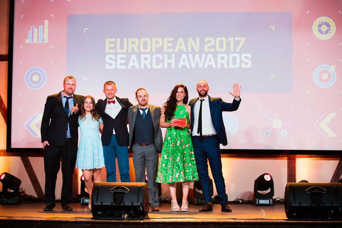 Wolfgang Digital team on stage after winning a European Search Award