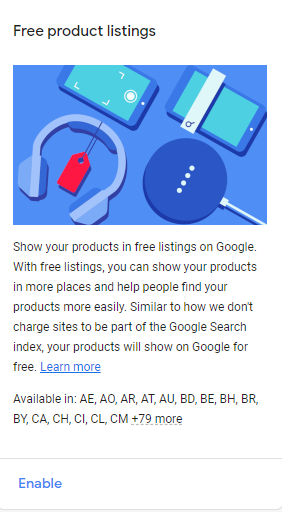 Free product listings