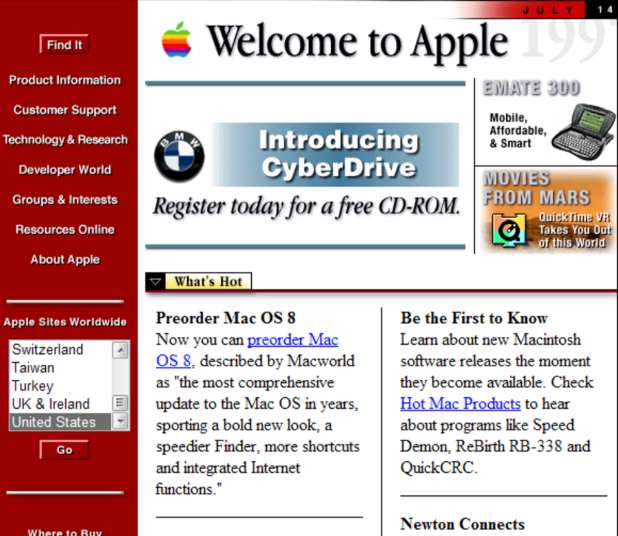 Apple Website Nineties