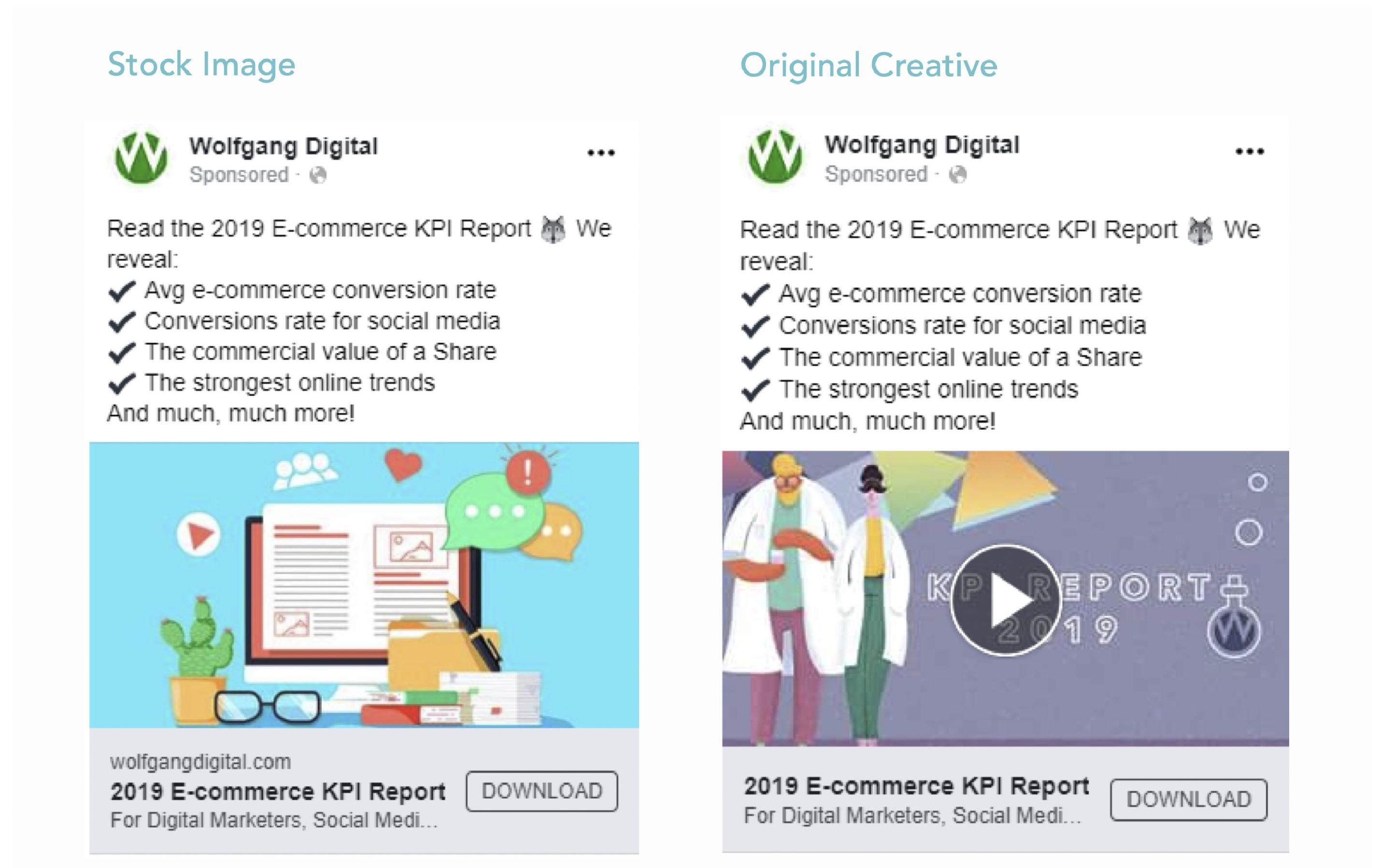Custom versus stock creative