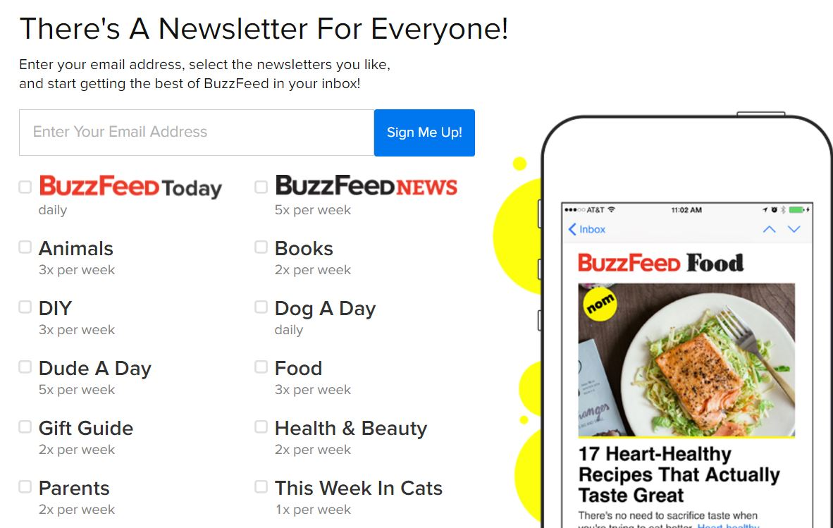 buzzfeed newsletter printscreen