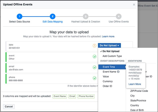 upload offline events data