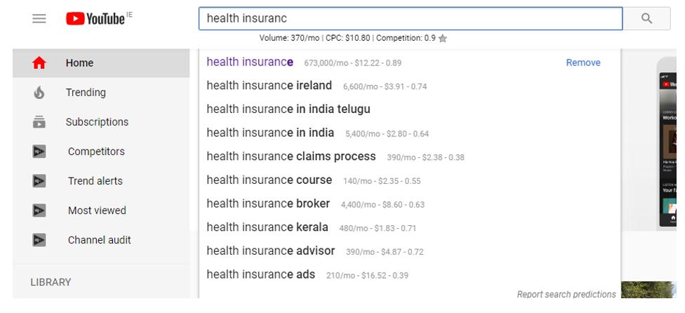A YouTube auto keyword suggest