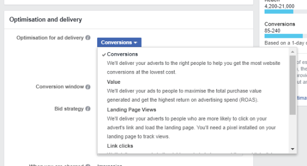 facebook showing optimisation for landing page views