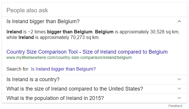 People Also Ask Boxes Ireland - SEO Down Low