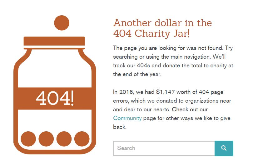 seer 404 page charity jar