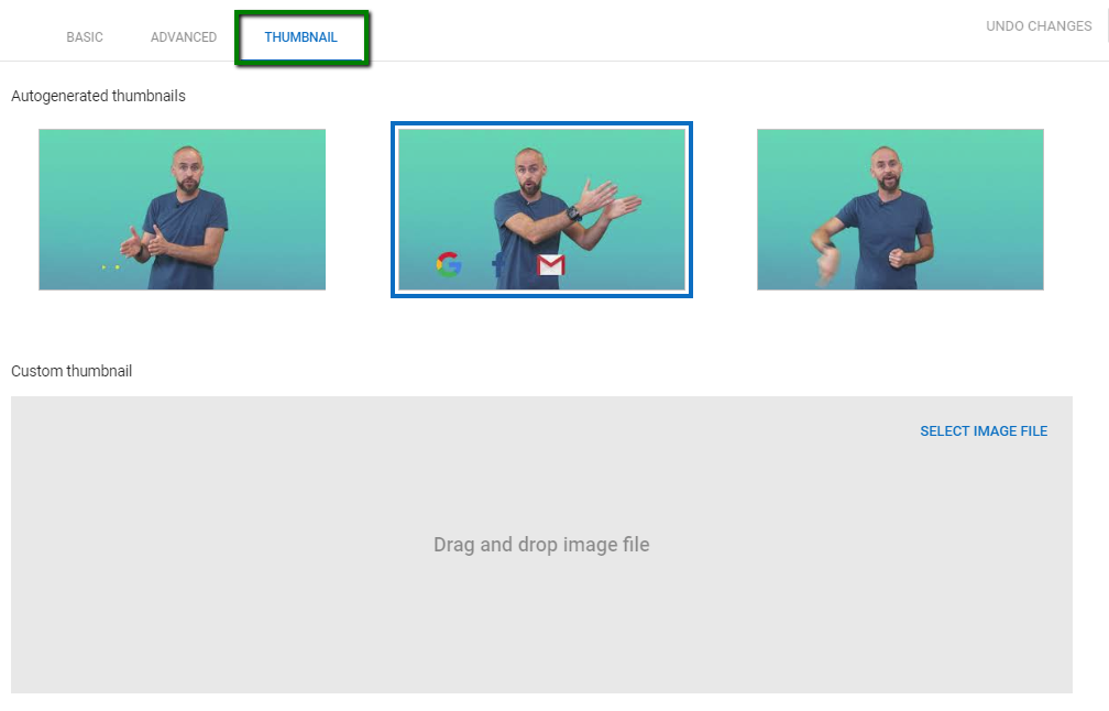 Uploading YouTube custom thumbnail
